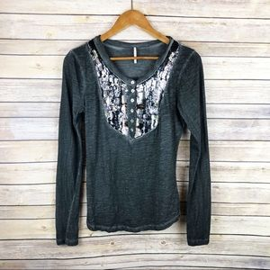 Free People Sequin Placket Stonewash Henley Top S